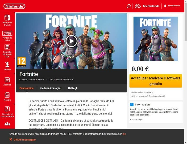 Página de Fortnite Nintendo Switch desde la web